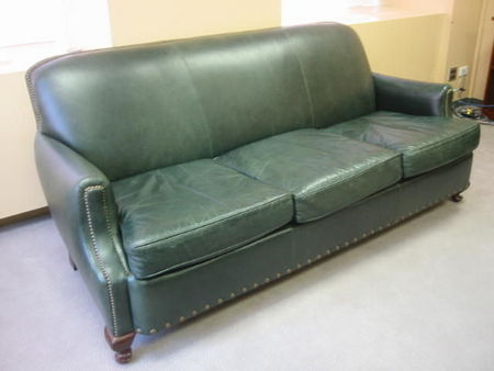 Traditional Green Leather Sofa - Conklin Office Furniture