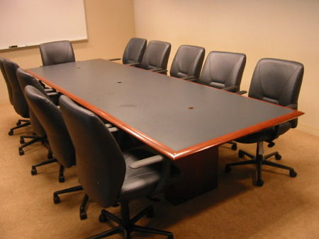 8 Foot Blue Laminate Inlay Conference Table