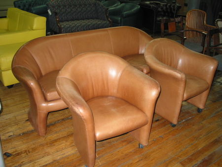 R598 - Leather Sofa and Matching Club Chairs
