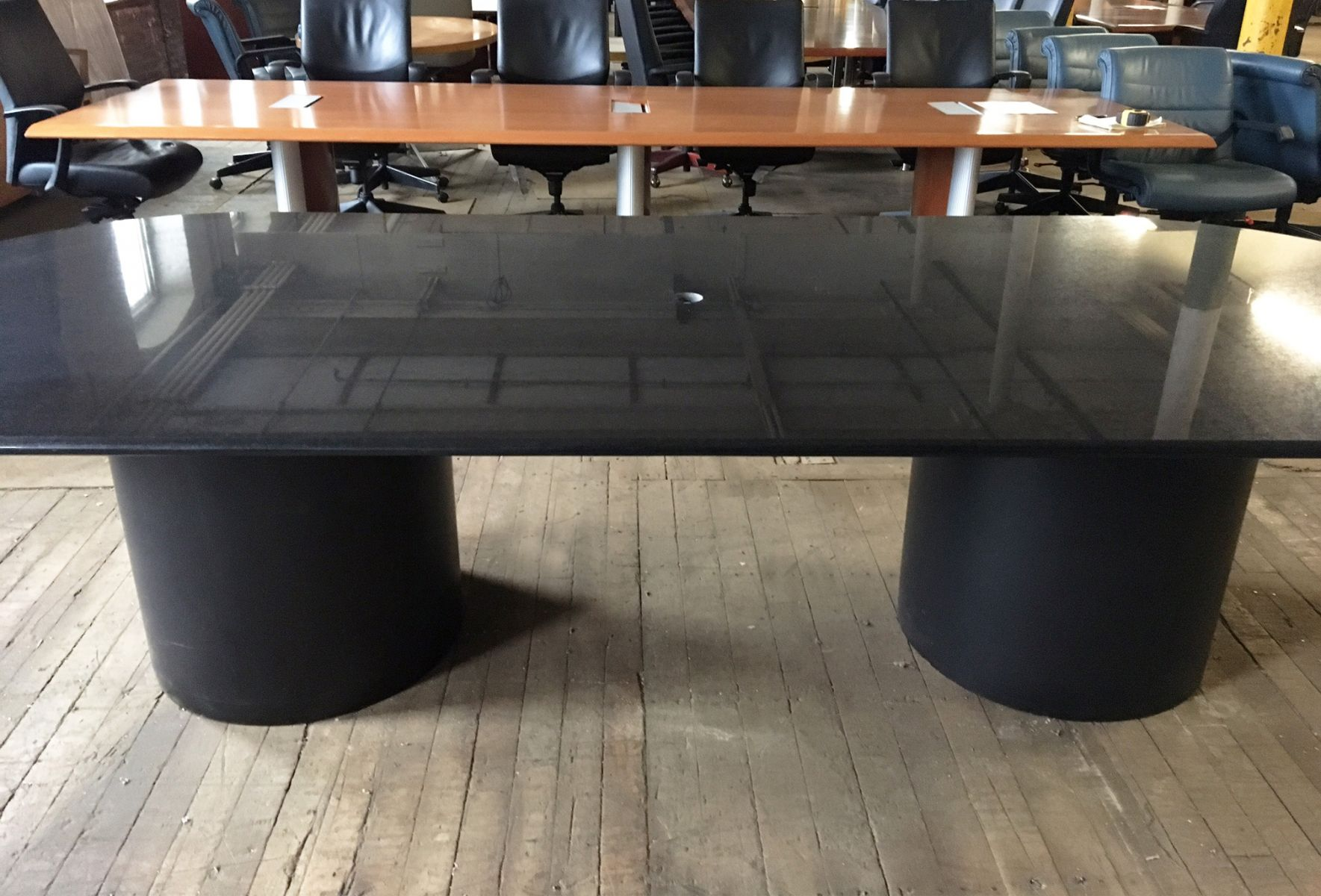 10 Ft Black Granite Oval Conference Table T9596c