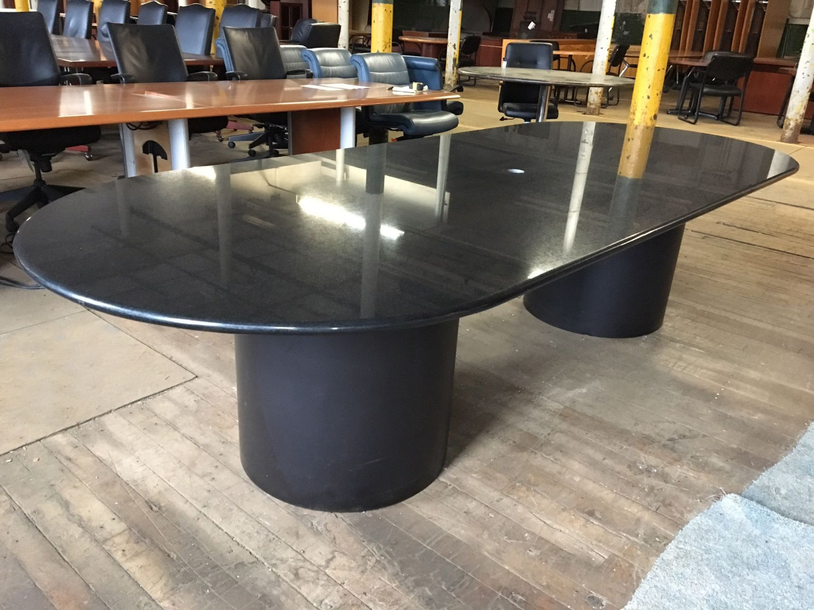 10 Ft Black Granite Oval Conference Table Conklin Office Furniture