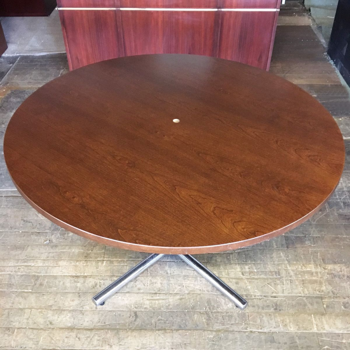 48 Quot Round Wood Veneer Conference Table Dark Cherry