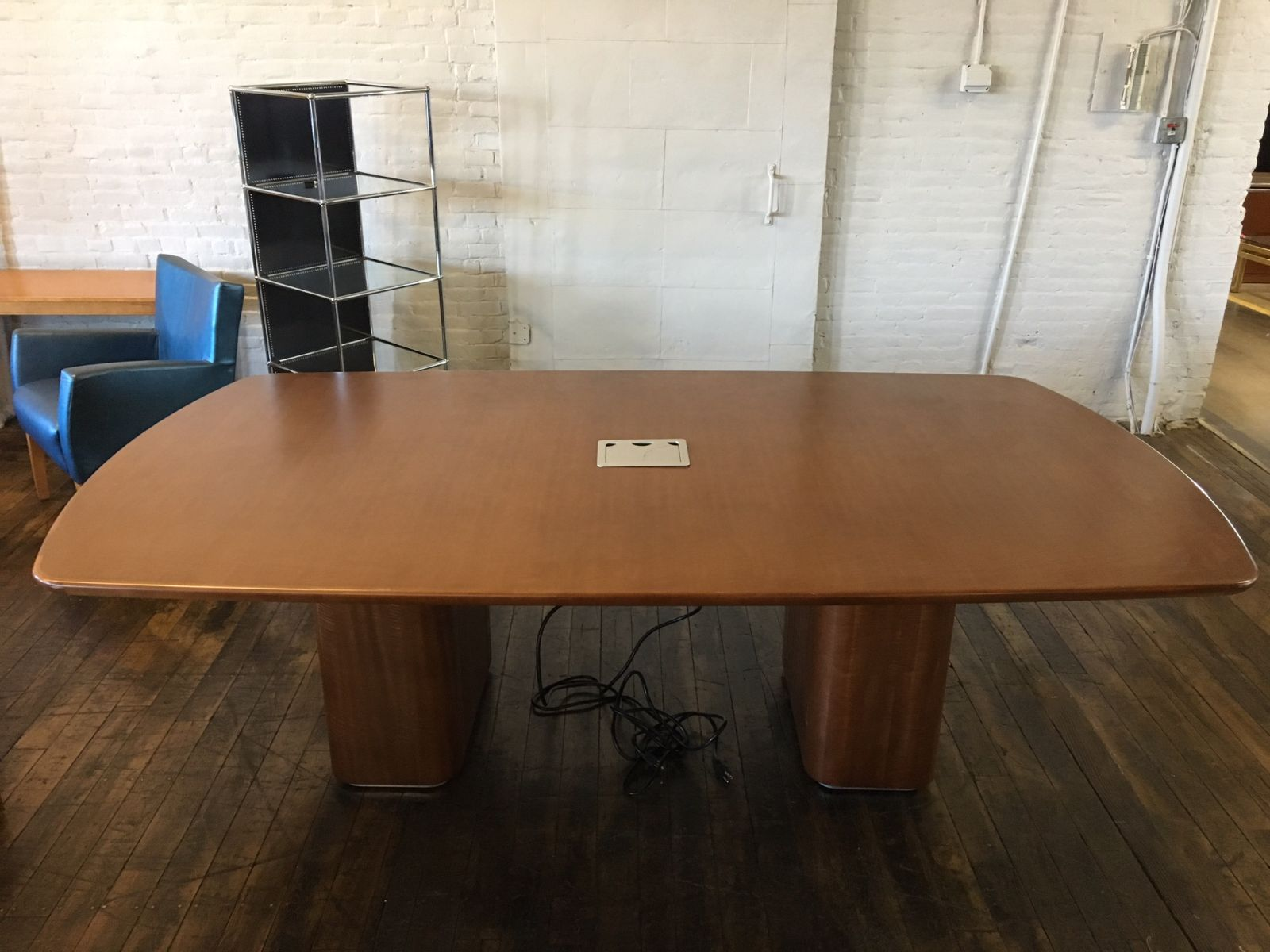 Ft Wood Veneer Conference Table With Data Ports Walnut Conklin - Wood veneer conference table
