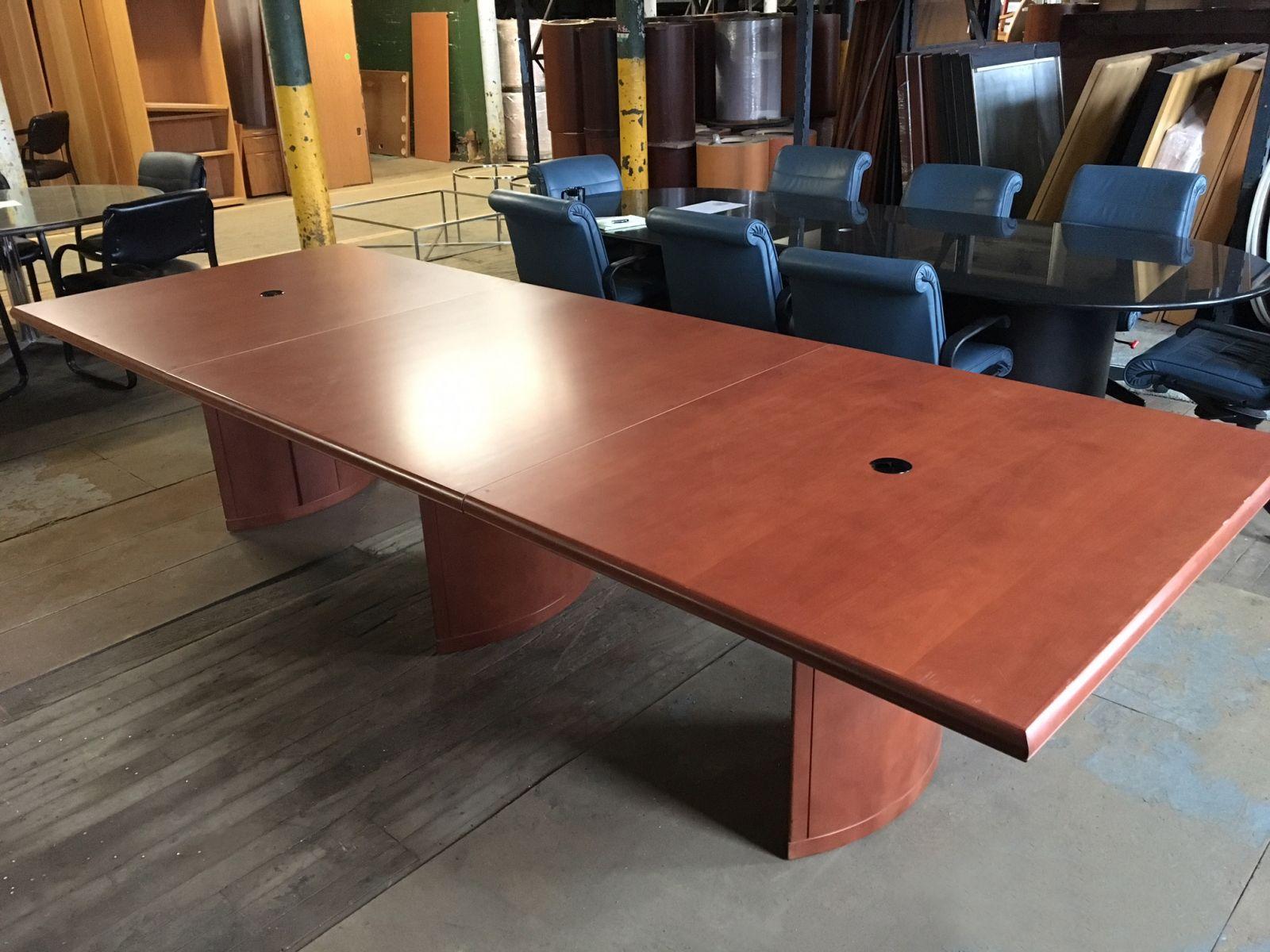 Ft Wood Veneer Conference Table Dark Cherry Conklin Office - Wood veneer conference table