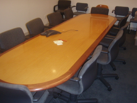 Foot Conference Table With Inlay Used Cherry Finish Coffee - 12 foot conference table