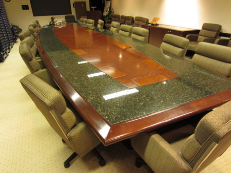 Marble Conference Table With Matching Credenzas Conklin Office - Marble conference table for sale