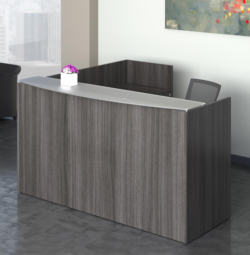 D12146 - Skyline Reception Desk with Frosted Glass Top