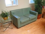 Sage Green Leather Love Seat (R359)