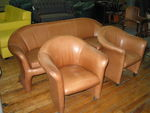 Leather Sofa and Matching Club Chairs (R598)