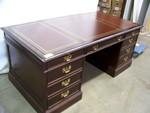 Double Pedestal Desk with Leather Inlay