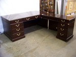 Mahogany L-Shape Desk Set